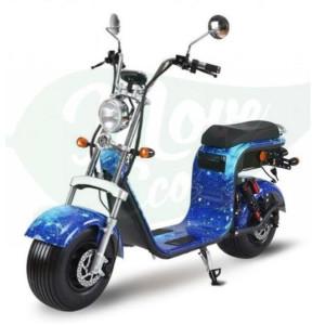 Scuter, bicicleta electrica, Citycoco, Harley, Scooter electric, MOVE ECO, Baterie Litiu Ion, autonomie 60 km, viteza maxima 45 km/h - Albastru