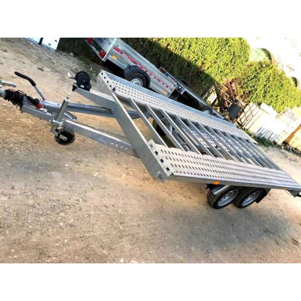 Remorca, Platforma Auto, Niewiadow, KNOTT, Dublu Ax, Cu Sistem De Franare 400x210 cm, 2700 kg