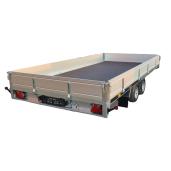 Remorcă, Platformă Auto, Cu Obloane Aluminiu, Martz GT PLATEAU 400, Dublu Ax, Cu Sistem De Frânare, Al-Ko 400x200 cm, 2700 kg, roți pe 13'